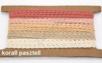 Színes pamut csipkék korall pasztell színek 5x2 méteres MIX variációkban 10 mm széles. 160 Ft / m  ( 10 méteres)