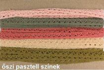 Színes pamut csipkék Őszi pasztell színek 5x2 méteres MIX variációkban 10 mm széles. 160 Ft / m  ( 10 méteres)