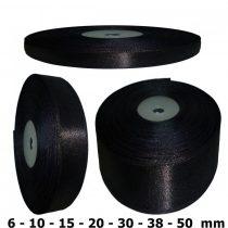 Szatén szalag fekete 6 mm - 50 mm 30 méter/kiszerelés