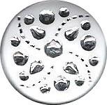Fehér gomb ezüst  mintával, hátúl varró, 12 mm, 36 Ft/db 50 db/csomag