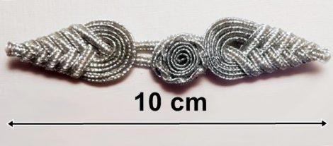 Kész paszomány gombolás 10 cm ezüst lurex, 500  Ft/pár