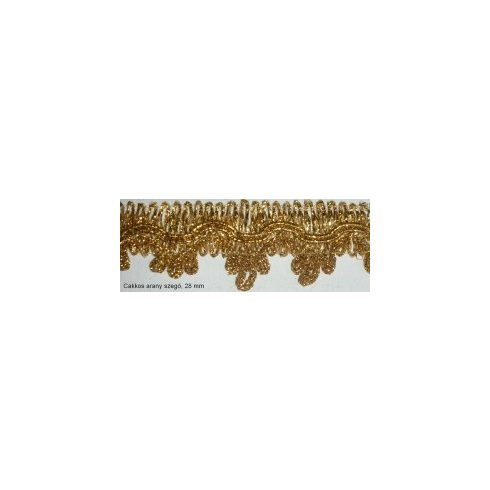 Cakkos arany lurex szegő szalag, 28 mm, 475 Ft/m