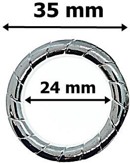 Karika csíkos mintás ezüst színű, műanyag,  35 mm 60 Ft / db (10 db/Cs)
