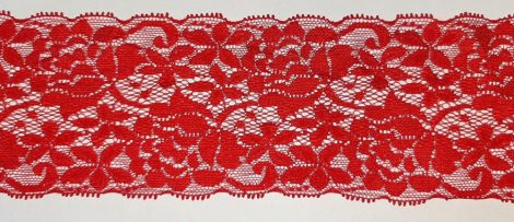 Rugalmas csipke, 80 mm széles , piros színű  570 Ft/méter  ( 5 méteres)