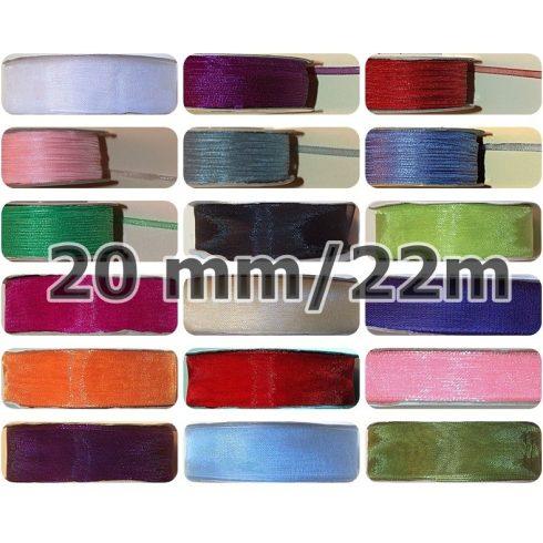 Organza szalag,  20 mm, több színben,  55 Ft/méter  (22 méter)