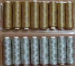 Cérna arany vagy  ezüst színben, Zlatka metál varró-, hímzőcérna. 665 Ft/db (8 db/doboz)