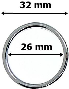 Karika ezüst színű, fém,  32 mm 90 Ft / db (25 db/Cs)