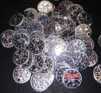 Nyomott mintás fémtallér, ezüst,lyukas, 15 mm 10 Ft/db (100db/cs.)