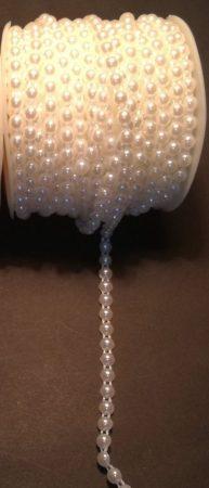 Félgyöngy folyamatos, vágható 4 mm dekorációs szalag, fehér. 200 Ft/méter  ( 5 métertől...)