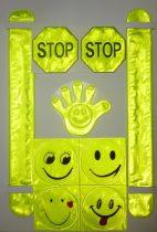 Fényvisszaverő világító figurák, figyelmeztető jelek egy csomagban 9 db-os, öntapadó. 1490 Ft /1 lap