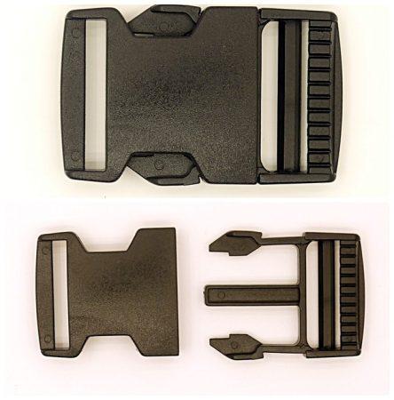 Műanyag TUK csat, fekete, bujtató méret: 50 mm. 150  Ft/pár