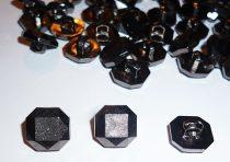 Gomb nyolcszögletű, black nikkel 12 x 12 mm. 20 Ft/db ( 50 db/cs)