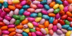 Fa festett, rizsszem alakú gyöngy, vegyes színekben, 8 mm, 290 Ft/csomag