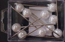 Gombostű 15 mm-es műanyag fejjel, fehér  1100 ft/doboz ( 10 db)