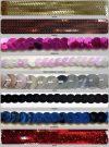 Egysoros varrható nem rugalmas sima flitter 6 mm, többféle színben. 140 Ft/m (10 méter)