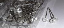 Gyémánt fejű gombostű, dekortű, 6 mm fej, 40 mm teljes hossz, 85 db. 1190 Ft/dob