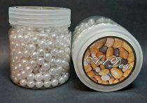 Dekor gyöngy 8 mm, fehér, 110 gr. (~ 500 db) 1750 Ft/tégely