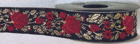 Szövött szalag rózsa mintás arany fémszálas motívumokkal,33mm 440 Ft/m (10m)