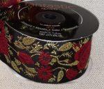 Szövött szalag rózsa mintás arany fémszálas motívumokkal,50mm 590 Ft/m (10m)