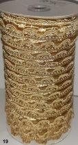 Cakkos szegő szalag, drapp-arany (19) színben  25 mm, 280 Ft/m