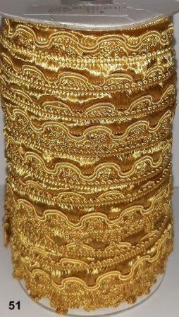 Cakkos szegő szalag, arany (51) színben  25 mm, 290 Ft/m (25 méter)
