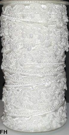Cakkos szegő szalag, fehér (FH) színben  25 mm, 290 Ft/m