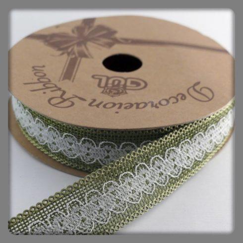Dekorációs szalag csipkével olivzöld-fehér 25 mm 260 Ft/m (10m)
