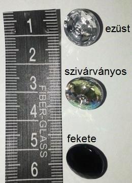 Divatgomb / kardigán gomb ezüst, szivárványos, fekete, csiszolt műanyag hátul varró füles Ø 12 mm.  30 Ft/db