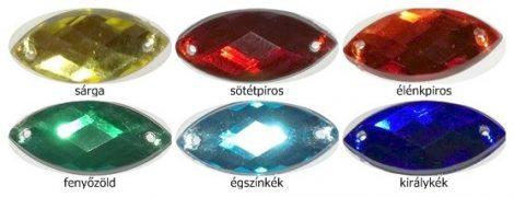 Akrilkő, varrható, zabszem alakú 9x20 mm többféle színben, 30 Ft/db (20 db-tól)