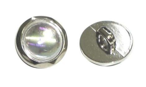 Dekorációs gomb üveges, ezüst széllel, hátul varró, 15 mm.  30  Ft/db ( 50 db)