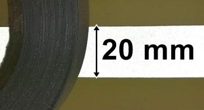 Fényvisszaverő biztonsági szalag szürke, bevont védőréteggel,  20 mm, 300 Ft / méter  (10 métertől...)