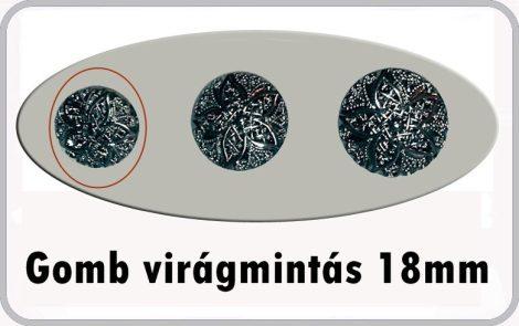 Gomb virág 18 mm antikolt ezüst színű 30 Ft/db