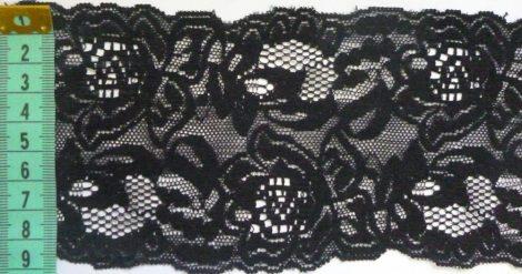 Rugalmas csipke 9 cm-es, fekete, 450 Ft/ méter