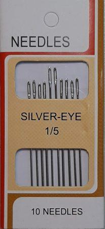 Varrótű kézi varráshoz, 0,8 mm vastag tűk, 5-5,5 mm 10 db / levél. SILVER-EYE, 220 Ft/levél