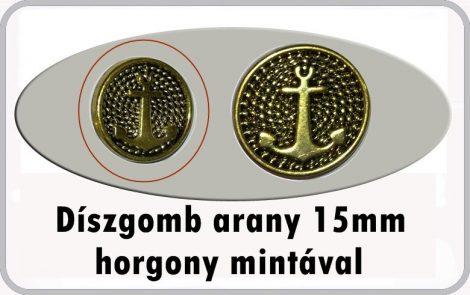 Díszgomb horgony mintával 15 mm arany színű,40 Ft/db