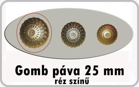 Gomb páva mintás 25 mm antikolt réz színű 50 Ft/db
