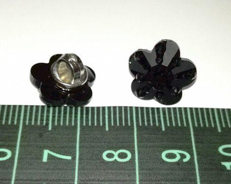 Divatgomb kis virág alakú, fekete, csillogó fekete göbökkel, hátul varró, 20-as ( 12 mm), 40 Ft/db
