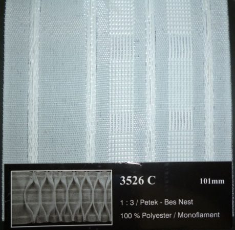Függöny behúzó, méhsejtes, 10 cm, 400  Ft/méter (3526)