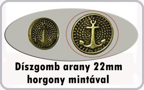 Díszgomb horgony mintával 22 mm arany színű, 50 Ft/db