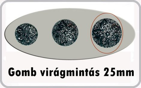Gomb virág 25  mm antikolt ezüst színű 50 Ft/db