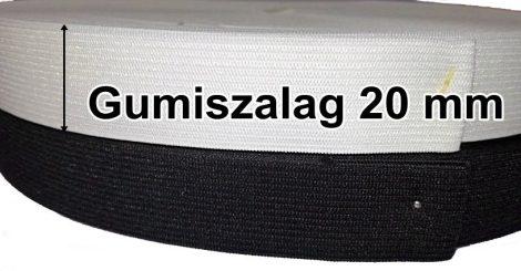 Gumiszalag laza 20 mm fehér vagy fekete 65 Ft/méter (50 méteres)