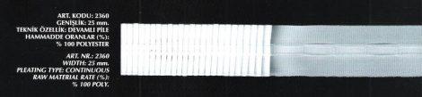 Függöny behúzó folyamatos minta, szoros behúzó szállal, 25 mm, Kód: 2360, 70 Ft / méter ( 100 méteres)