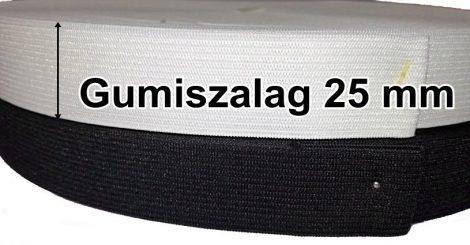 Gumiszalag laza 25 mm fehér vagy fekete 70   Ft/méter (50 méteres)
