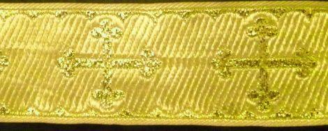 Kereszt mintás szalag, arany lurex szövéssel, 50 mm,  460  Ft / méter ( 50 méteres)