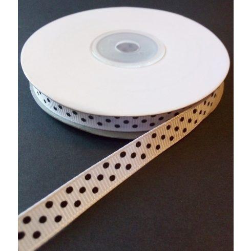 Textilszalag 10 mm fehér alapon fekete pöttyös 95 Ft/m (20m)