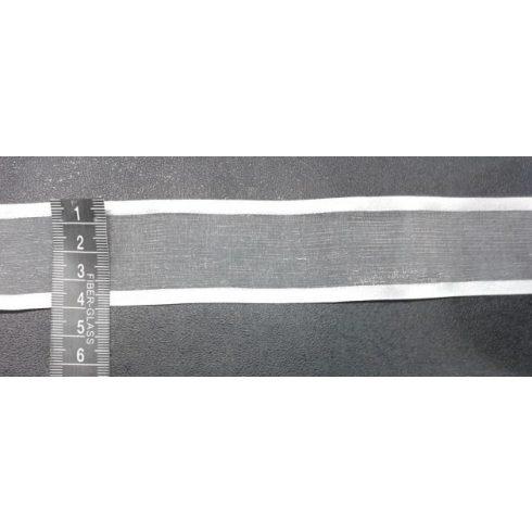 Mintás organza 40 mm, két szélén fehér csíkokkal, 100 Ft/méter ( 23 méteres)