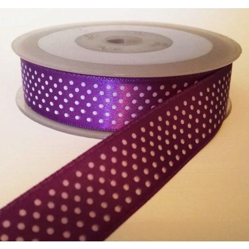 Textilszalag 20 mm lila alapon fehér pöttyös 115 Ft/m (20m)