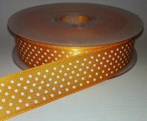 Textilszalag 20 mm narancs alapon fehér pöttyös 115 Ft/m (20m)