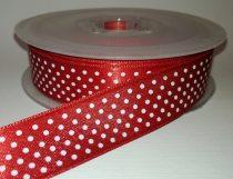 Textilszalag 20 mm piros alapon fehér pöttyös 115 Ft/m (20m)