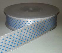 Textilszalag 20 mm fehér alapon kék pöttyös 115 Ft/m (20m)